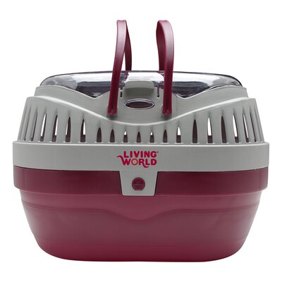 Living World Pet Carrier Size: Large (6.3 H x 9.5 W x 12 L), Color: Red / Grey