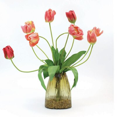 Flame Tulips in Glass Vase image