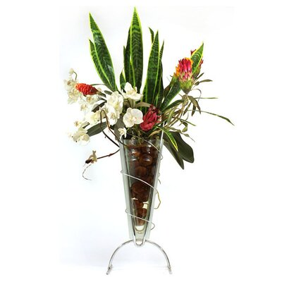 Tropicals and Sansevieria in Glass Metro Vase image