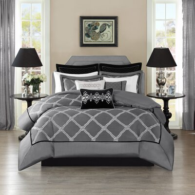 Teramo Comforter Set Size: King, Color: Gray