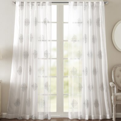 Massa Single Curtain Panel Size: 50 W x 84 L, Color: White