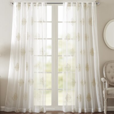 Massa Single Curtain Panel Size: 50 W x 84 L, Color: Ivory