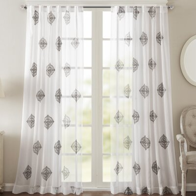 Massa Single Curtain Panel Size: 50 W x 95 L, Color: Charcoal