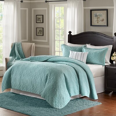Taryn 4 Piece Reversible Quilt Set Color: Blue, Size: King