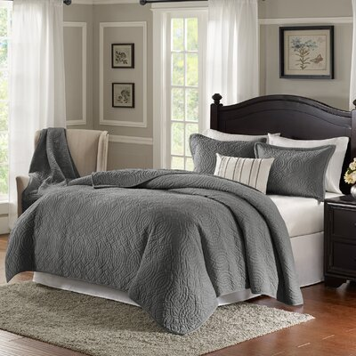 Taryn 4 Piece Reversible Quilt Set Color: Gray, Size: King