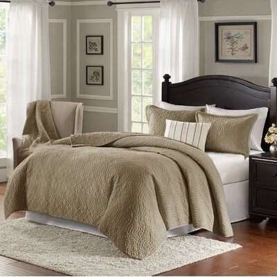 Taryn 4 Piece Reversible Quilt Set Color: Khaki, Size: Queen