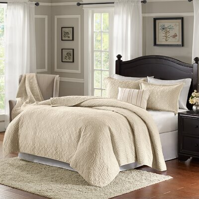 Taryn 4 Piece Reversible Quilt Set Color: Ivory, Size: King