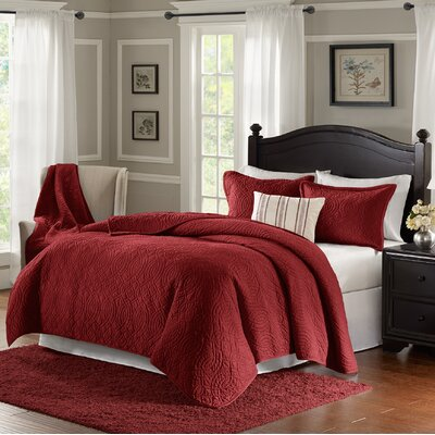 Taryn 4 Piece Reversible Quilt Set Color: Red, Size: Queen