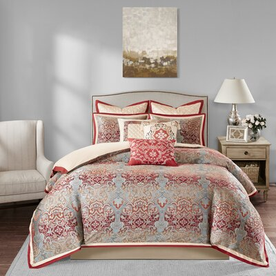 Norton 10 Piece Comforter Set Size: King, Color: Red