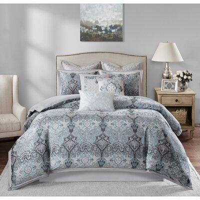 Norton 10 Piece Comforter Set Size: Queen, Color: Gray