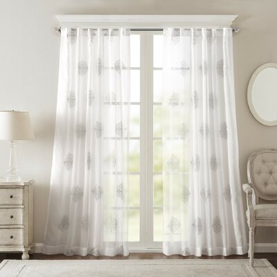 Massa Single Curtain Panel Size: 50 W x 95 L, Color: Silver