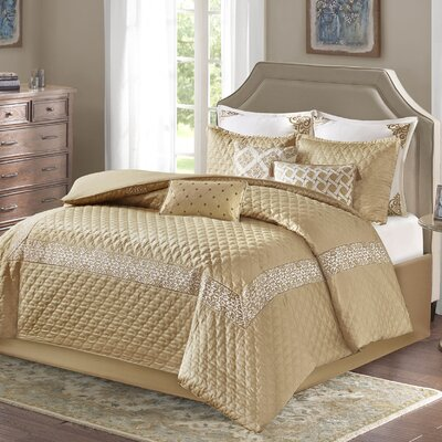 Emerson Comforter Set Size: Queen, Color: Gold