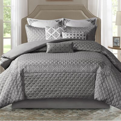 Emerson Comforter Set Size: California King, Color: Gray