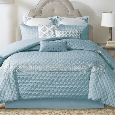 Emerson Comforter Set Size: California King, Color: Blue