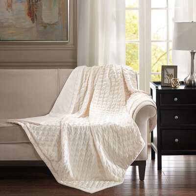 Victoria Throw Color: Ivory, Size: 80 W x 96 L