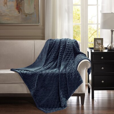 Victoria Throw Color: Navy, Size: 60 W x 70 L