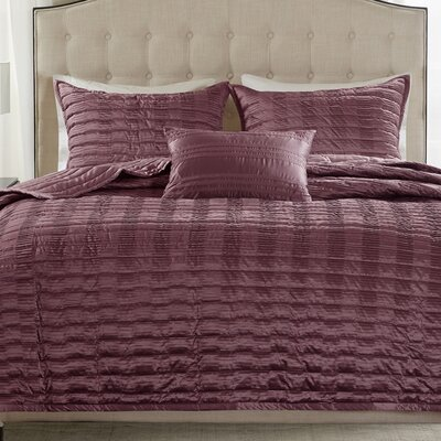 Chandler 4 Piece Coverlet Set Size: King, Color: Burgundy