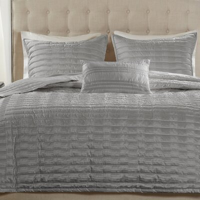 Chandler 4 Piece Coverlet Set Size: King, Color: Gray