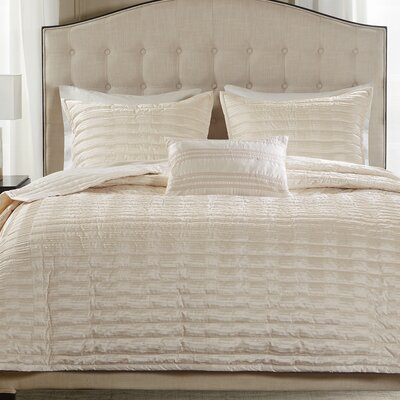 Chandler 4 Piece Coverlet Set Size: King, Color: Ivory