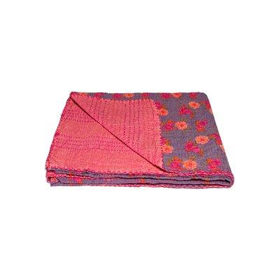 Kantha Vintage Handmade Cotton Throw Color: Purple