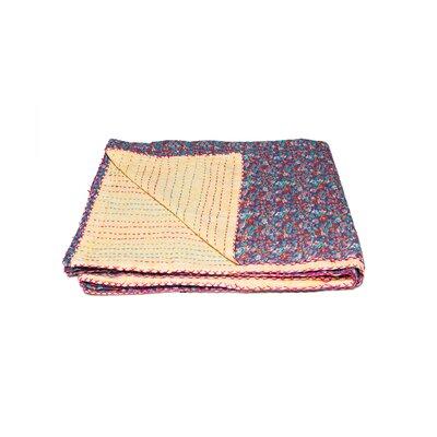 Kantha Vintage Handmade Cotton Throw Color: Red/Orange
