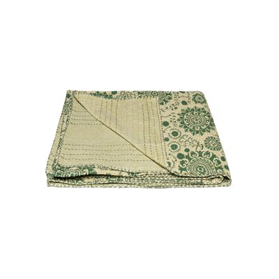 Kantha Vintage Handmade Cotton Throw Color: Green