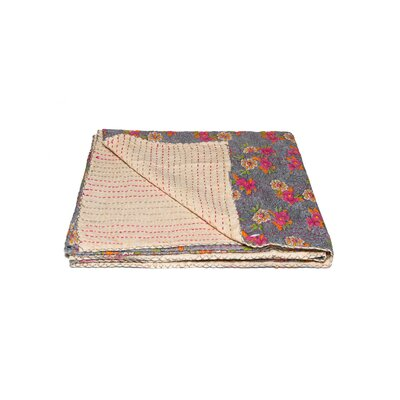 Kantha Vintage Handmade Cotton Throw Color: Blue