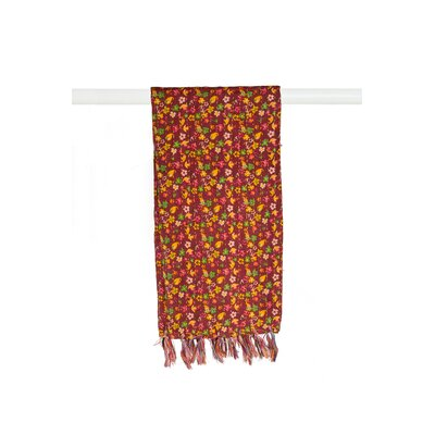 Kantha Cotton Bed Runner Color: Red/Orange