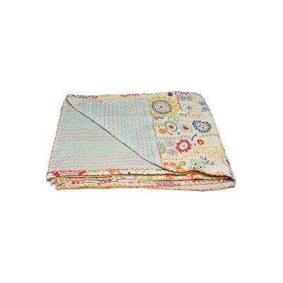 Kantha Vintage Handmade Cotton Throw Color: Gold