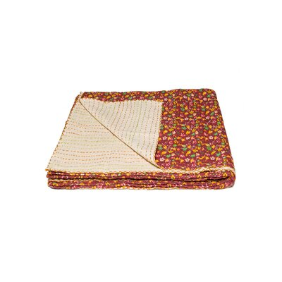 Kantha Vintage Handmade Cotton Throw Color: Blue/Brown
