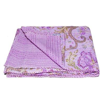 Kantha Vintage Handmade Cotton Throw Color: Purple