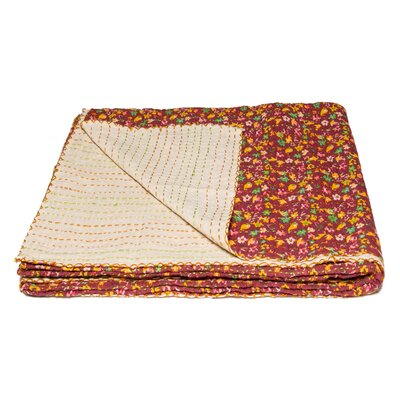 Kantha Vintage Handmade Cotton Throw Color: Red/Orange
