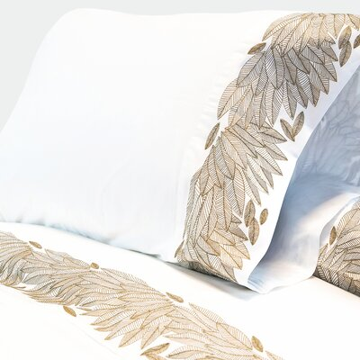 Cristal Feather Embroidered 400 Thread Count Sheet Set Size: Queen