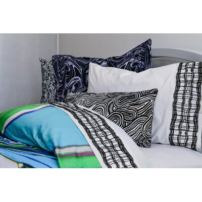 Cielo Loteria Check Embroidered 400 Thread Count Sheet Set Size: Queen