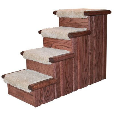 Raised Panel 4 Step Pet Stair Finish: Warm Rich Cherry