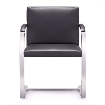 Arlo Mid-Back Leather Chair with Arms Color: Black
