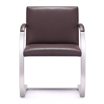 Arlo Mid-Back Leather Chair with Arms Color: Brown