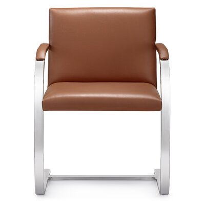 Arlo Mid-Back Leather Chair with Arms Color: Tan