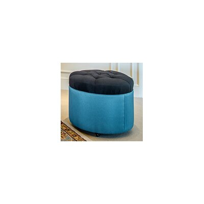 Tory Furniture Mondo Tufted Round Ottoman - Color: Chocolate