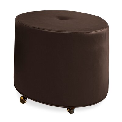Mondo Upholstered Round 1-Button Ottoman Upholstery: Chocolate