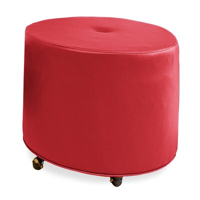 Mondo Upholstered Round 1-Button Ottoman Upholstery: Cherry