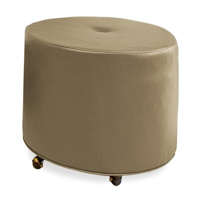 Mondo Upholstered Round 1-Button Ottoman Upholstery: Stone