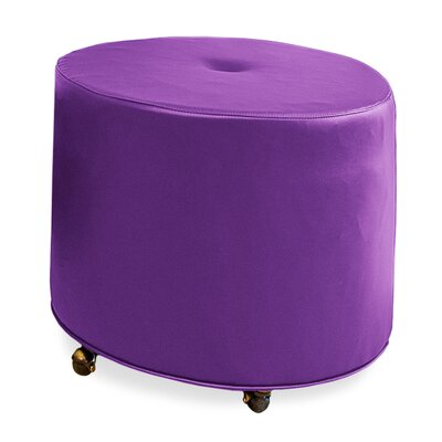 Mondo Upholstered Round 1-Button Ottoman Upholstery: Eggplant