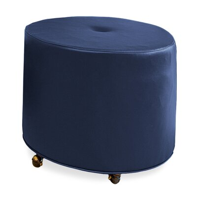 Mondo Upholstered Round 1-Button Ottoman Upholstery: Navy