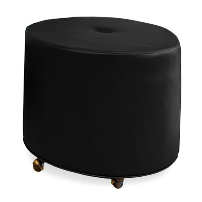 Mondo Upholstered Round 1-Button Ottoman Upholstery: Onyx
