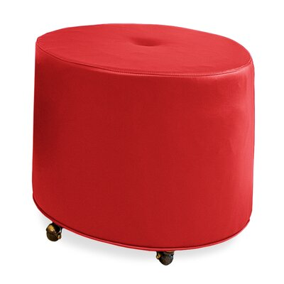 Mondo Upholstered Round 1-Button Ottoman Upholstery: Scarlet