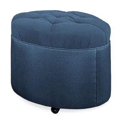 Mondo Tufted Round Ottoman Upholstery: Navy