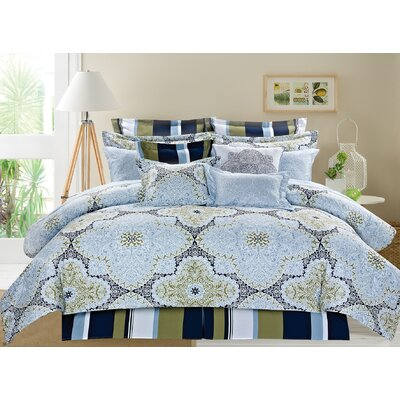 Lacey Medallion 10 Piece Reversible Printed Ensemble Comforter Set Size: King