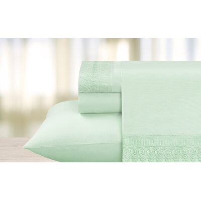 Luxe Venice Lace 1800 Microfiber Sheet Set Color: Aqua, Size: Full