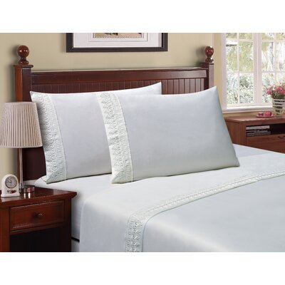 Luxe Venice Lace 1800 Microfiber Sheet Set Color: White, Size: Queen